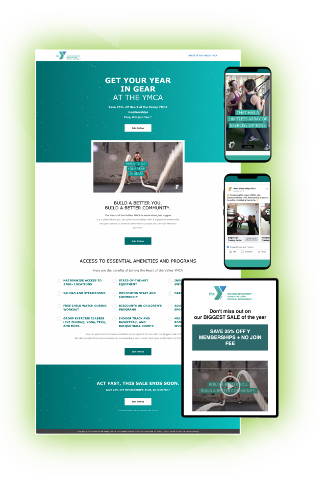 YMCA Heart of the Valley online marketing campaign